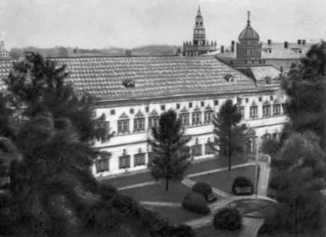 Здание трапезной монастыря – расположение Высшей военной электротехнической школы  в 1917-1923  гг.  (г. Сергиев Посад, Троице-Сергиева Лавра)